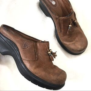 Ariat Brown Leather Clogs Tassel Womens Size 7B